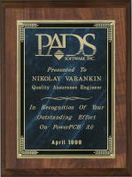In Recognition of Your Outstanding Effort on PowerPCB 3.0, April 1999